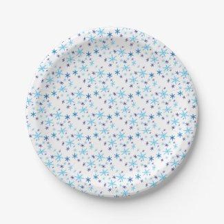 Snowflakes Paper Plates