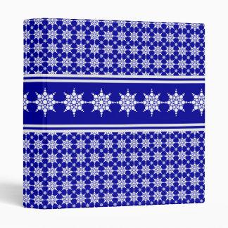 Snowflakes Pattern Blue Holiday Binder