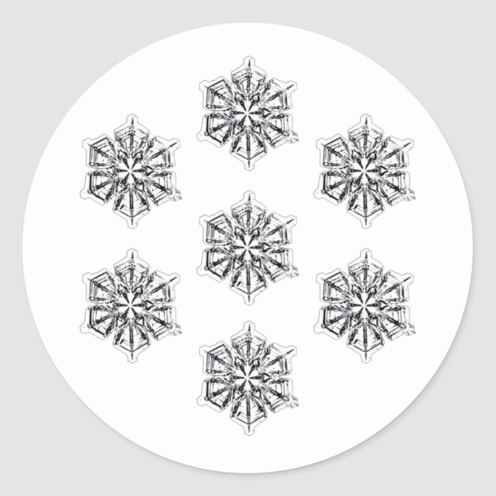 Snowflakes Pattern Classic Round Sticker