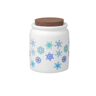 Snowflakes Pattern Holiday Candy Jar