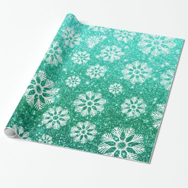 Beach Themed Snowflakes Pattern Holiday Green Faux Glitter Wrapping Paper