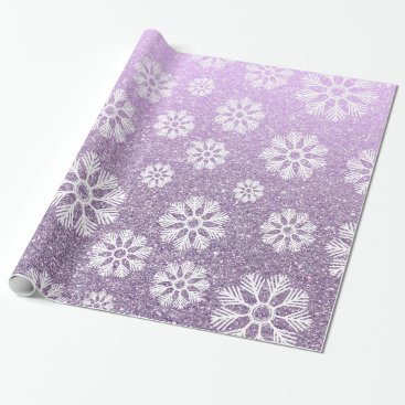 Beach Themed Snowflakes Pattern Holiday Lavender Faux Glitter Wrapping Paper
