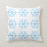 Snowflakes Pattern on White Pillow