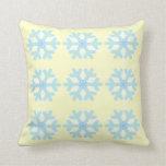 Snowflakes Pattern Pale Yellow Pillow