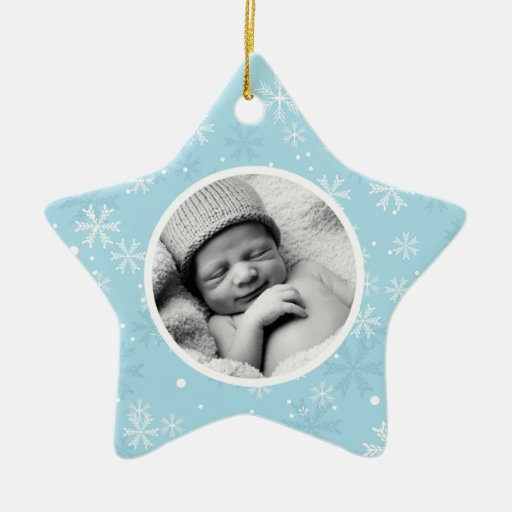 Snowflakes Pattern Photo Christmas Double-Sided Star Ceramic Christmas Ornament
