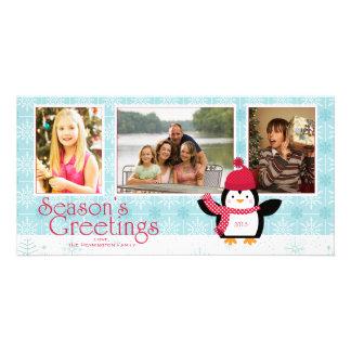 Snowflakes penguin season s greetings 3 photo card