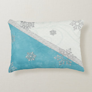 Snowflakes & Peppermint Holiday Accent Pillow