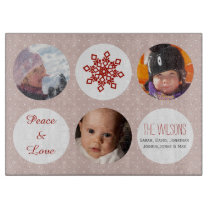 snowflakes photos collage glass cutting board
