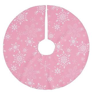 snowflakes pink brushed polyester tree skirt - Pink Christmas Tree Skirt