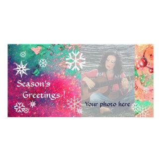 SNOWFLAKES  pink ,fuchsia,green,white Card