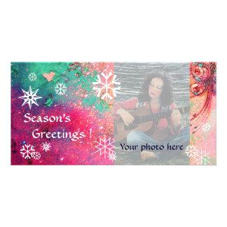 SNOWFLAKES  pink ,fuchsia,green,white Photo Card Template