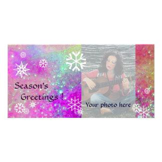 SNOWFLAKES ,pink,fuchsia,violet,purple,white Custom Photo Card