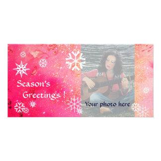 SNOWFLAKES, pink ,fuchsia,white Card