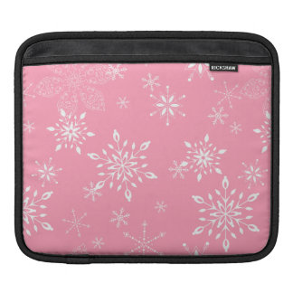 Snowflakes Pink Sleeve For iPads