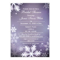 Snowflakes Purple Winter Bridal shower invite