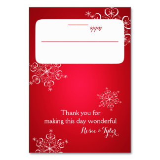 Snowflakes Red 2 Seating Card