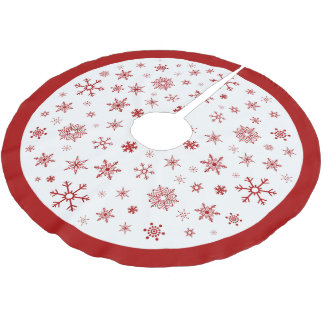 Snowflakes Red and White Christmas Tree Skirt