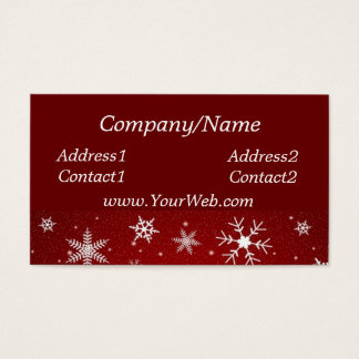 Snowflakes Red Business Card