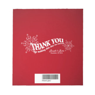 Snowflakes Red Candy Bar Wrap Note Pad