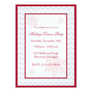"Snowflakes Red Chevron Holiday Party Invitations 5.5"" X 7.5"" Invitation Card"