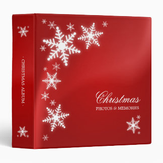 Snowflakes Red Christmas binder
