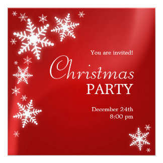 Snowflakes Red Christmas Party invitation