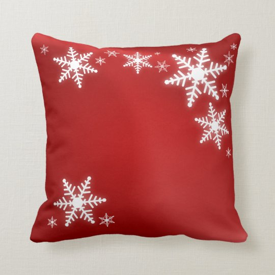 Snowflakes Red Christmas pillow