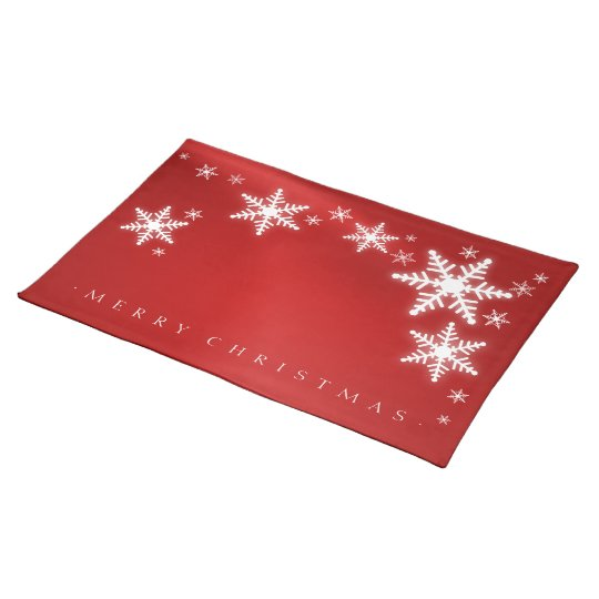 Snowflakes Red Christmas placemat