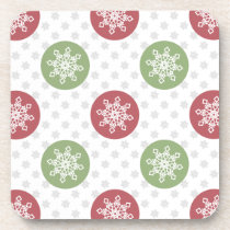 snowflakes red green cute winter pattern beverage coaster