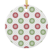 snowflakes red green cute winter pattern ceramic ornament
