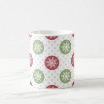 snowflakes red green cute winter pattern coffee mug