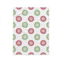snowflakes red green cute winter pattern fleece blanket