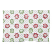 snowflakes red green cute winter pattern hand towel