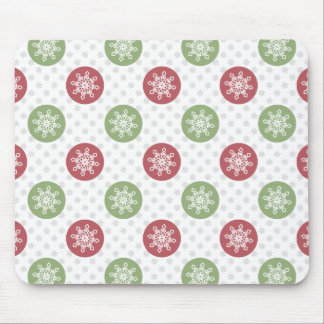 snowflakes red green cute winter pattern mouse pad