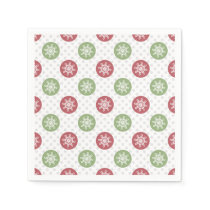 snowflakes red green cute winter pattern napkin