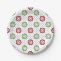 snowflakes red green cute winter pattern paper plate