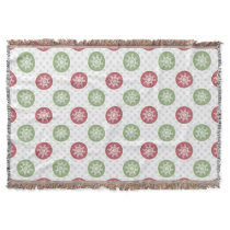 snowflakes red green cute winter pattern throw