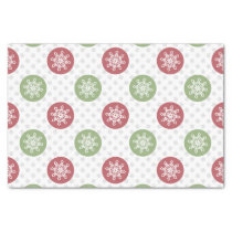 snowflakes red green cute winter pattern tissue paper