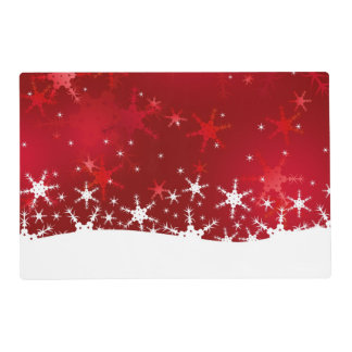 Snowflakes Red Merry Christmas Laminated Placemat