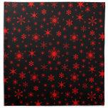 Snowflakes – Red on Black Printed Napkins