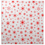 Snowflakes – Red on White Printed Napkins