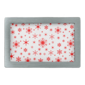 Snowflakes – Red on White Rectangular Belt Buckle