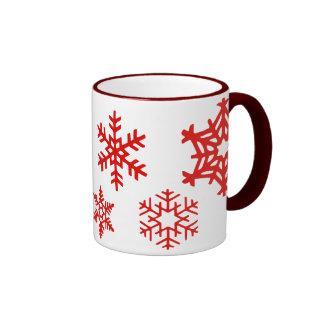 Snowflakes red ringer mug
