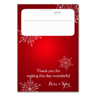 Snowflakes Red Seating Card Table Cards