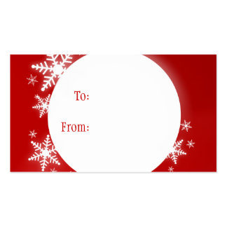 Snowflakes Red White Christmas Gift Tag Double-Sided Standard Business Cards (Pack Of 100)