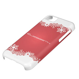 Snowflakes red white winter custom iPhone 5C cover