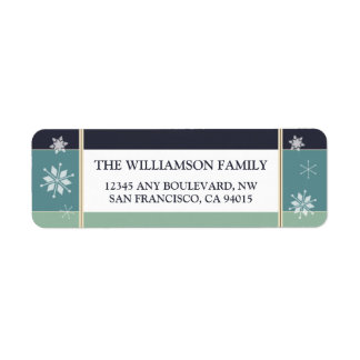 Snowflakes Return Address Labels (navy)
