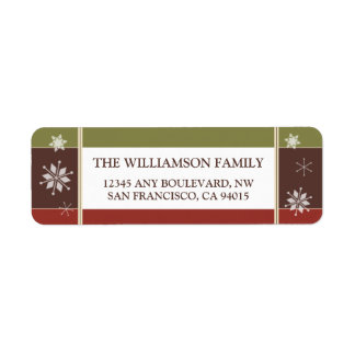 Snowflakes Return Address Labels (olive/red)