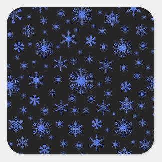 Snowflakes – Royal Blue on Black Square Sticker