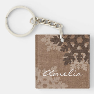 Snowflakes Rustic Country Style Faux Burlap Keychain